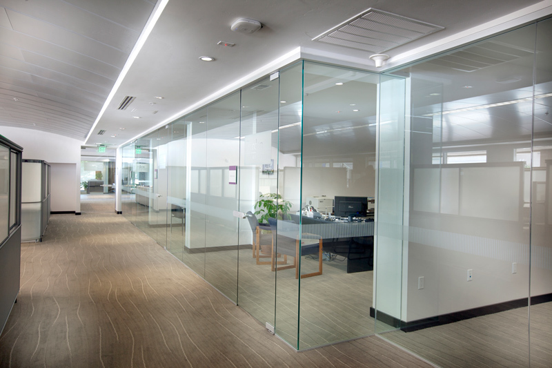 View from corridor of glass partitions for office